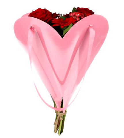 Embalagem Coração para ramo 35x35 cm